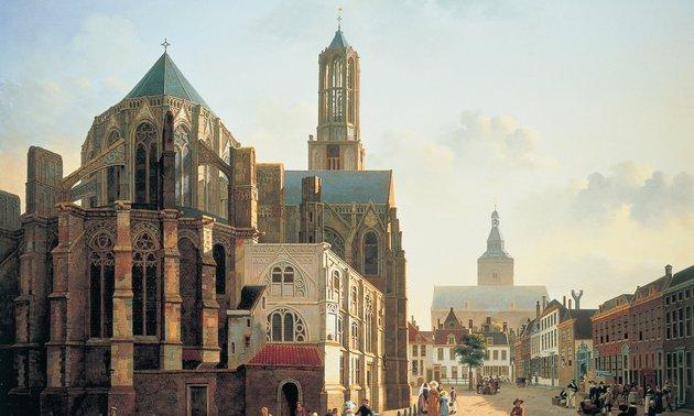 Gezicht op het koor en de toren van de Domkerk te Utrecht (ca. 1829) Jan Hendrik Verheyen (c) Centraal Museum Utrecht